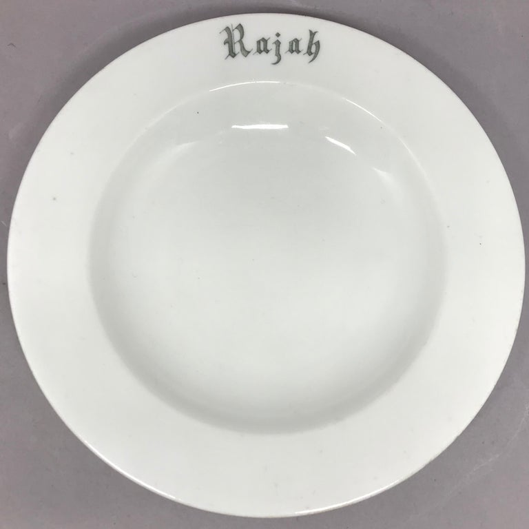 "Ceramic Set of Six White Vintage ""Rajah"" Plates For Sale"
