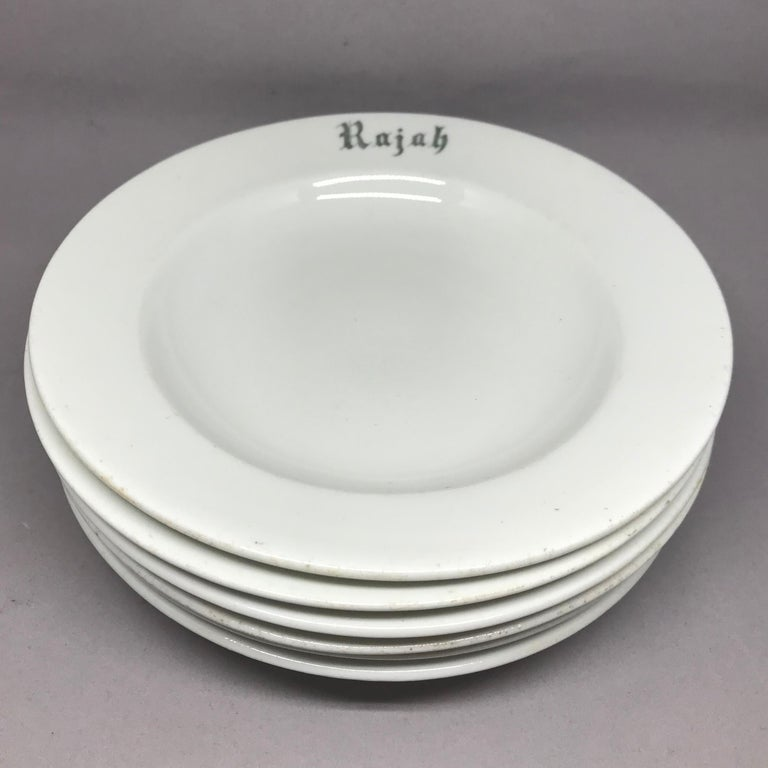 "Set of Six White Vintage ""Rajah"" Plates For Sale 3"