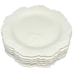 Set of Six White Wedgwood Grape Leaf Plates