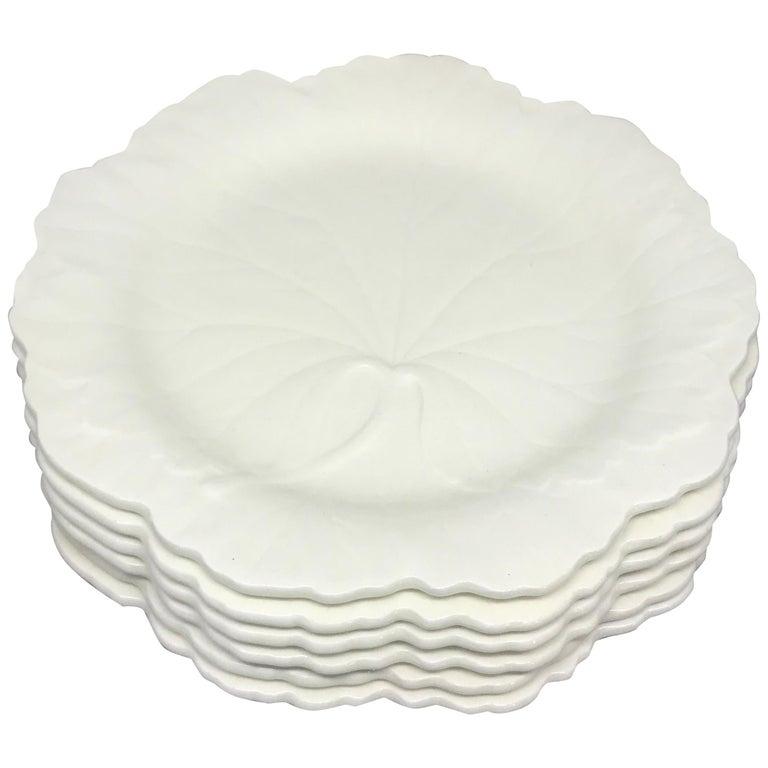 Set of Six White Wedgwood Grape Leaf Plates For Sale