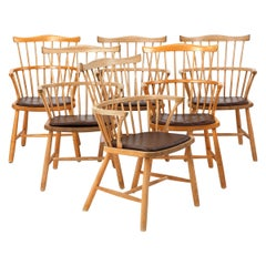 Set of Six Windsor Armchairs by Børge Mogensen