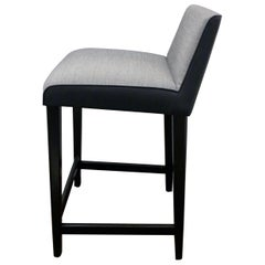Set of Six Wittmann Fabric and Leather William Counter Stools