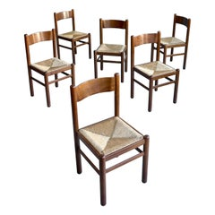 Set of Six Wood and Rush Chairs in Style of Charlotte Perriand, France, 1960's