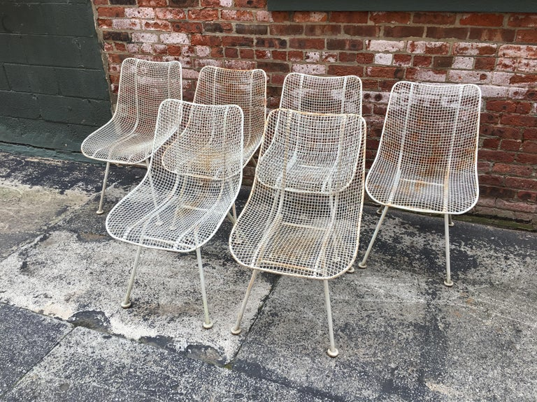 Mid-Century Modern Set of Six Woodard Sculptura Wire Mesh Side Chair For Sale