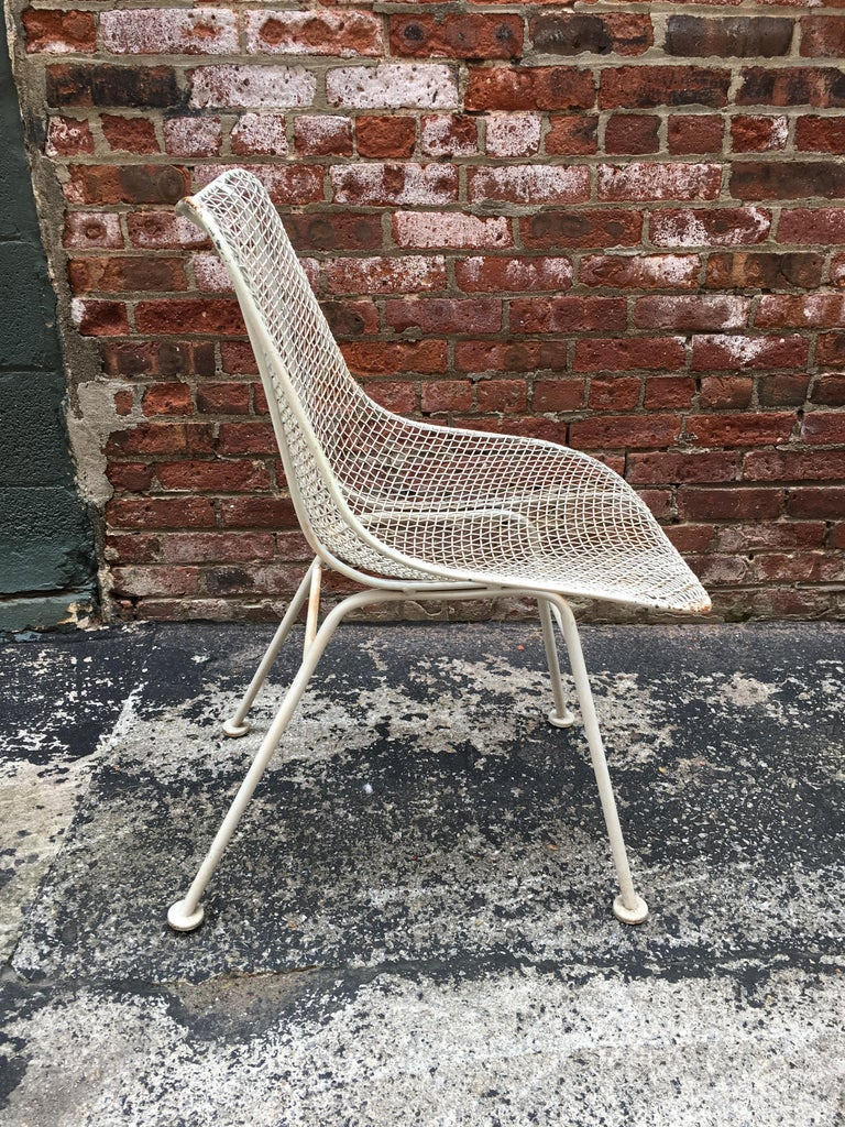 American Set of Six Woodard Sculptura Wire Mesh Side Chair For Sale