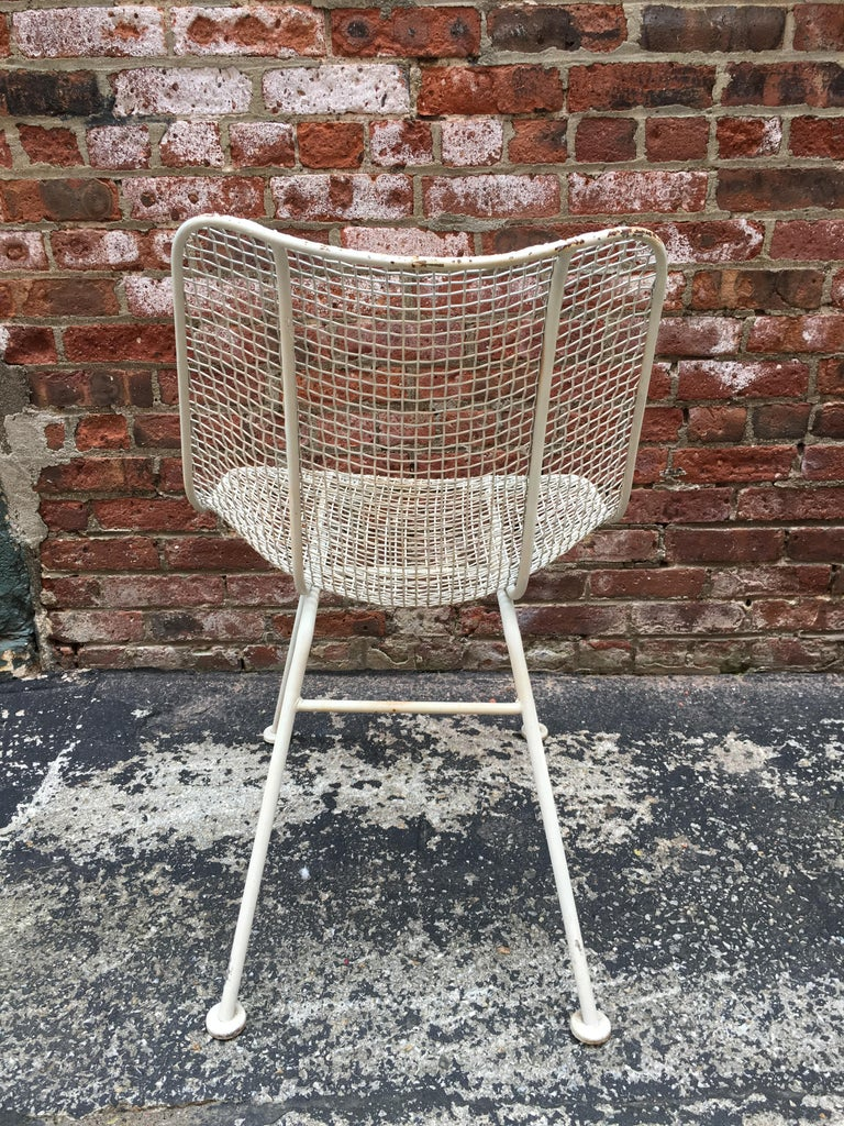 Mid-20th Century Set of Six Woodard Sculptura Wire Mesh Side Chair For Sale