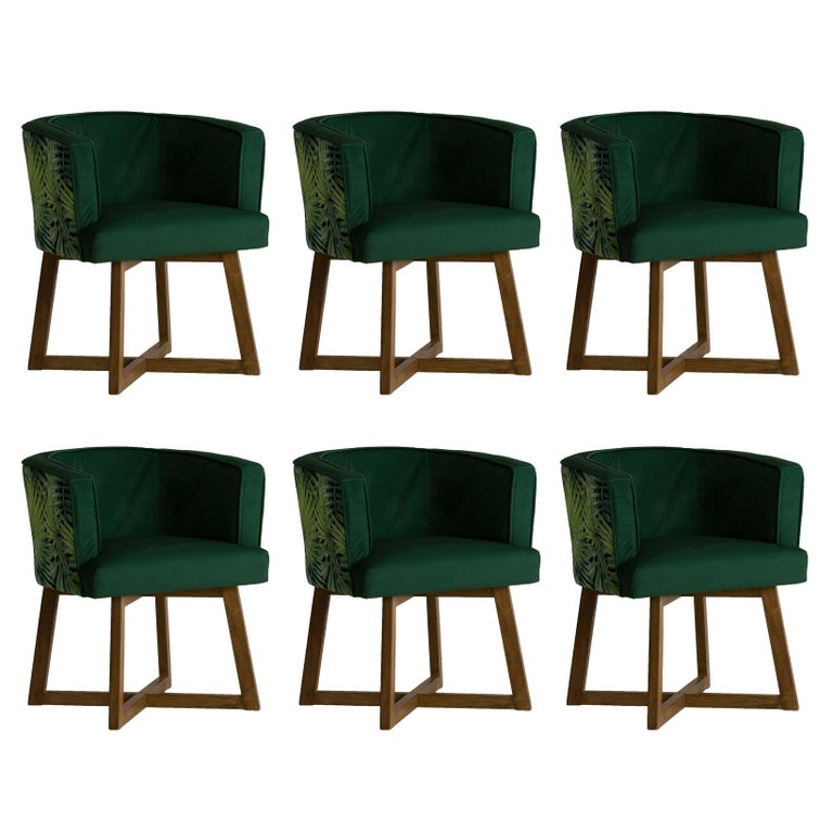 Set of Six Wooden and Green Velvet Armchairs