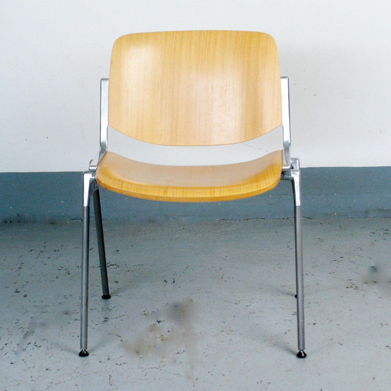Mid-Century Modern Set of Six Wooden Castelli DSC 106 Stacking Chairs by Giancarlo Piretti