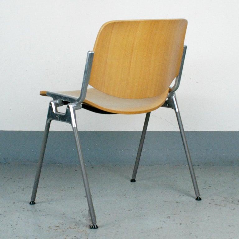 Italian Set of Six Wooden Castelli DSC 106 Stacking Chairs by Giancarlo Piretti