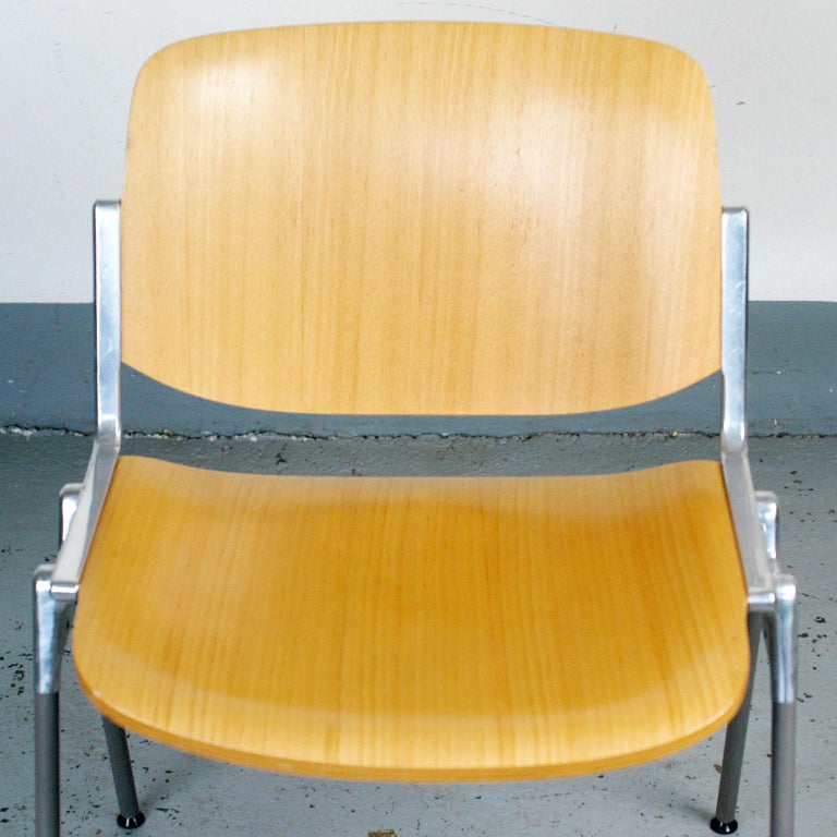 Mid-20th Century Set of Six Wooden Castelli DSC 106 Stacking Chairs by Giancarlo Piretti