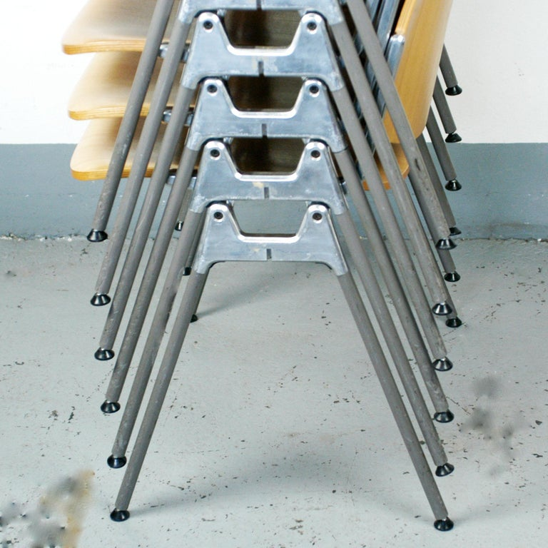 Set of Six Wooden Castelli DSC 106 Stacking Chairs by Giancarlo Piretti 1