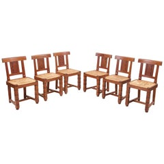 Set of Six Wooden Chairs by Jacques Mottheau, France, 1930s
