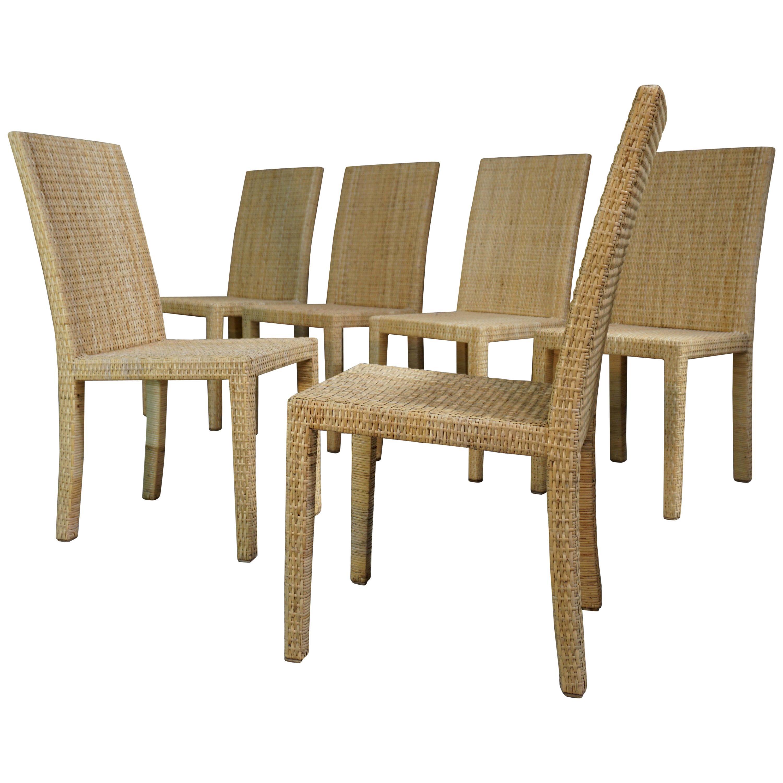 Set of Six Wooden Chairs Rattan 1935, Jean-Michel Frank for Ecart International