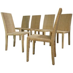 Set of Six Wooden Chairs Rattan 1935, Jean-Michel Frank for Ecart International
