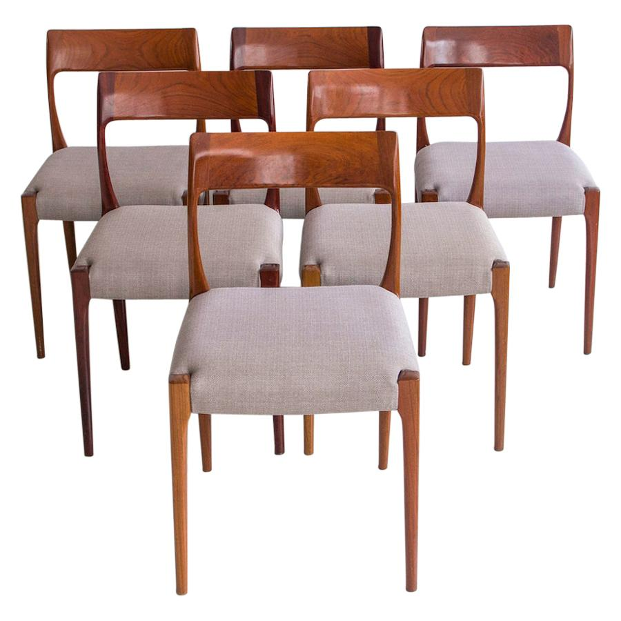 Set of Six Wooden Danish Modern Dining Chairs