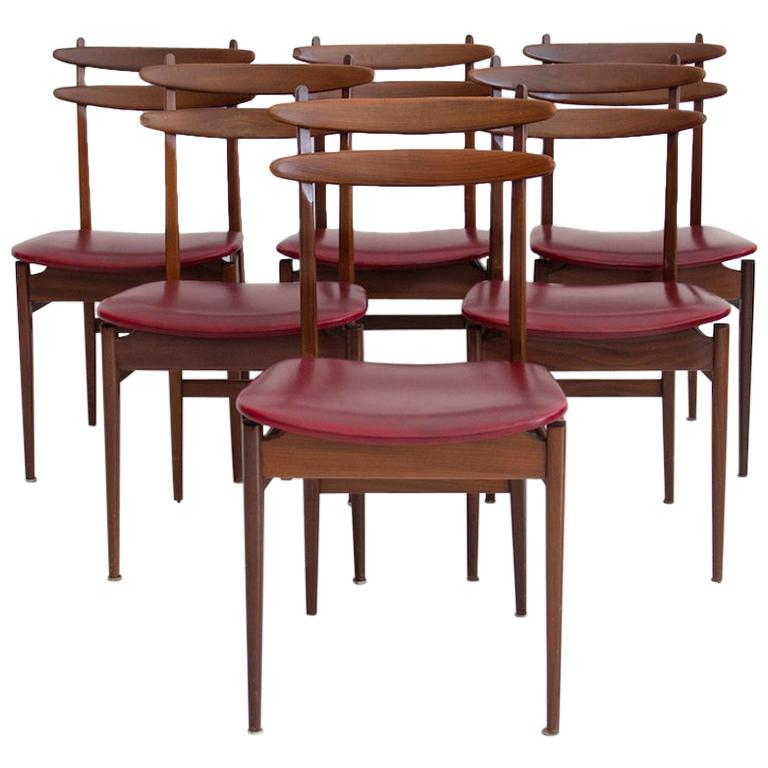 Set of Six Wooden Dining Chairs with Burgundy Seats