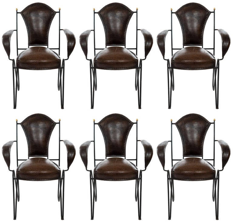 Set of Six Wrought Iron and Leather Armchairs In Distressed Condition For Sale In Salt Lake City, UT