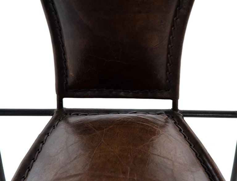 20th Century Set of Six Wrought Iron and Leather Armchairs For Sale