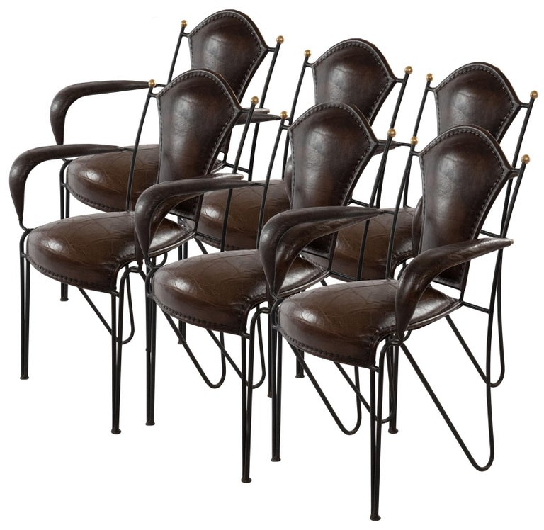 Set of Six Wrought Iron and Leather Armchairs For Sale 2