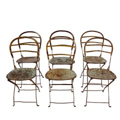 Set of Six Wrought Iron and Steel Folding Chairs