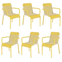 Set of Six Yellow and White Resin Outdoor Armchairs