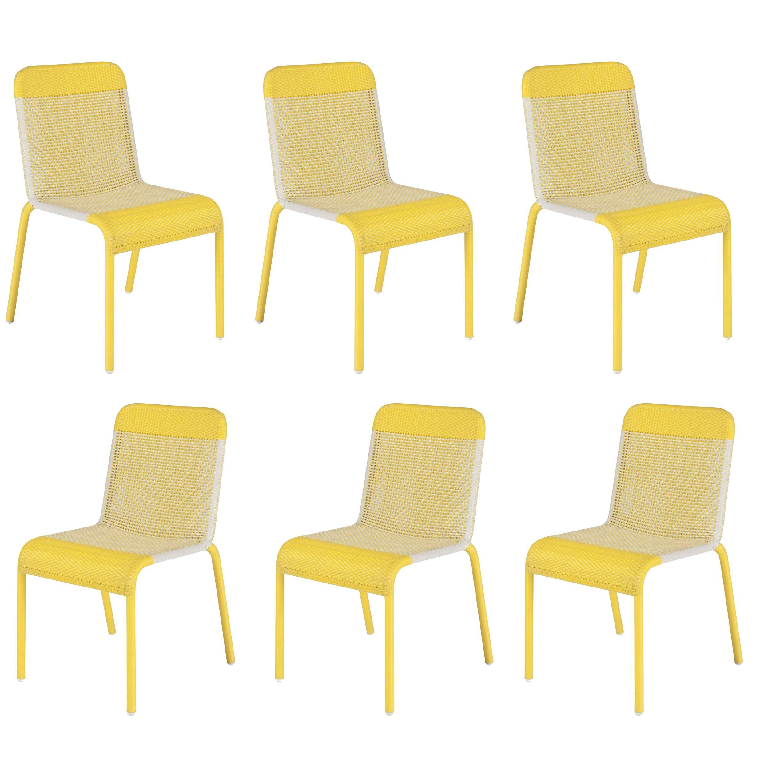 Charming Set Of Six Yellow Resin Stackable Chairs For Sale