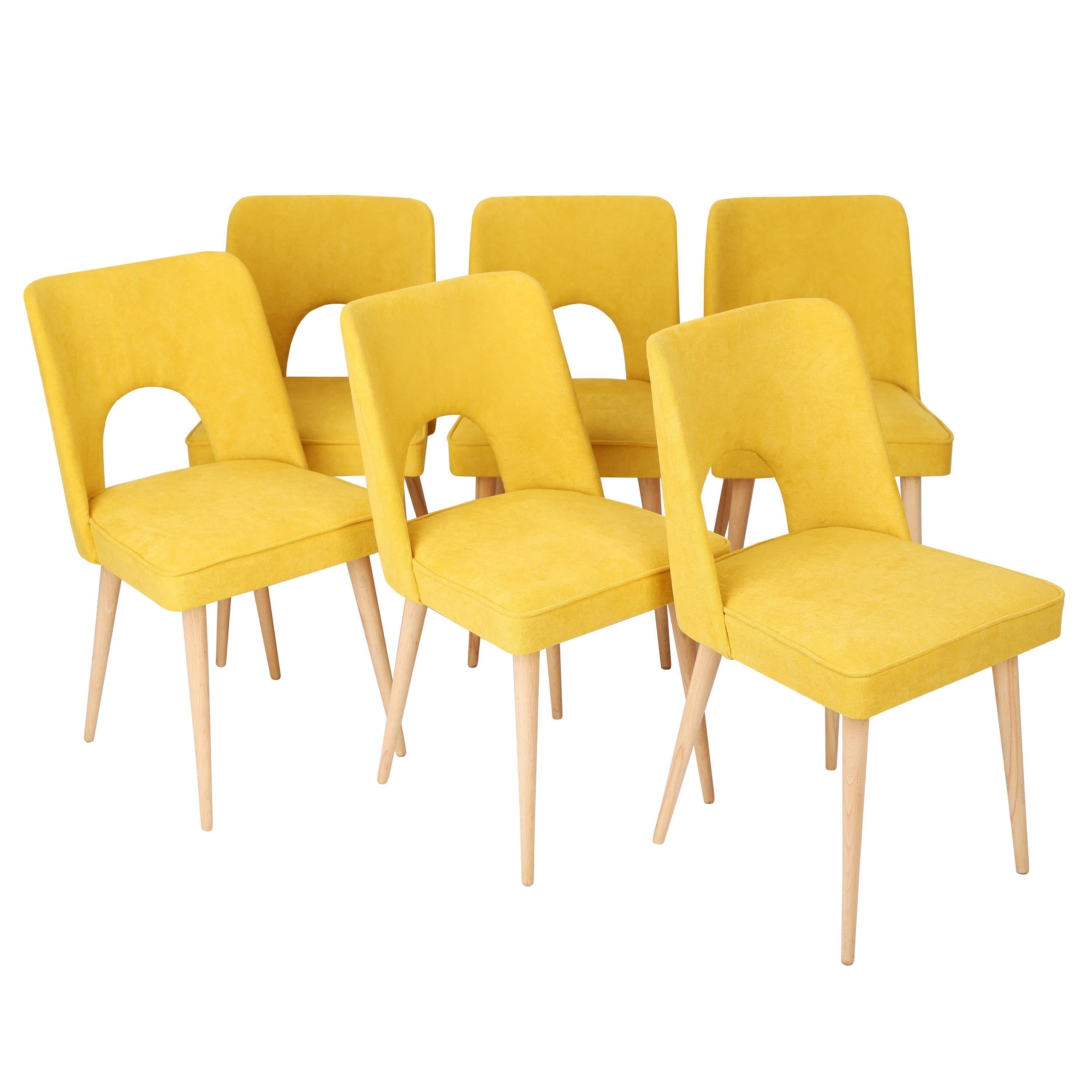 """Set of Six Yellow """"Shell"""" Chairs, Poland, 1960s"""
