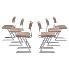 Set of Six 'Zig Zag' Chairs in Steel and Taupe Leatherette