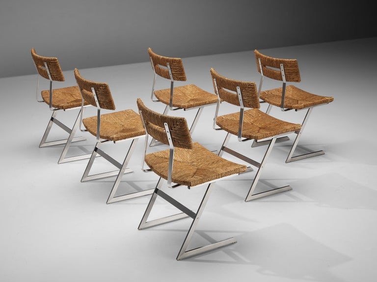 Steel Set of Six Zig-Zag Dining Chairs in Metal and Straw Webbing For Sale
