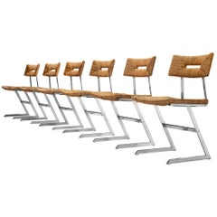 Set of Six Zig-Zag Dining Chairs in Metal and Straw Webbing