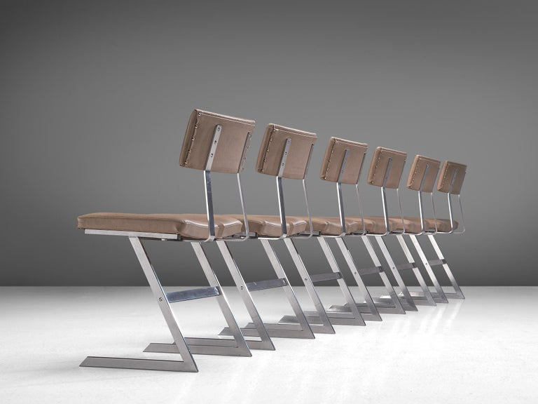 Mid-Century Modern Set of Six 'Zig Zag' Steel and Taupe Leatherette Chairs For Sale
