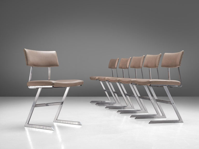 European Set of Six 'Zig Zag' Steel and Taupe Leatherette Chairs For Sale