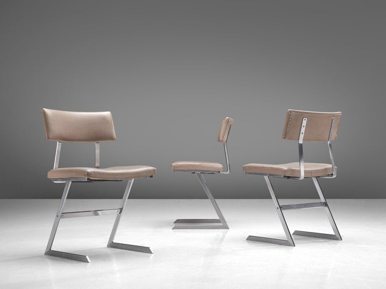 Set of Six 'Zig Zag' Steel and Taupe Leatherette Chairs In Good Condition For Sale In Waalwijk, NL