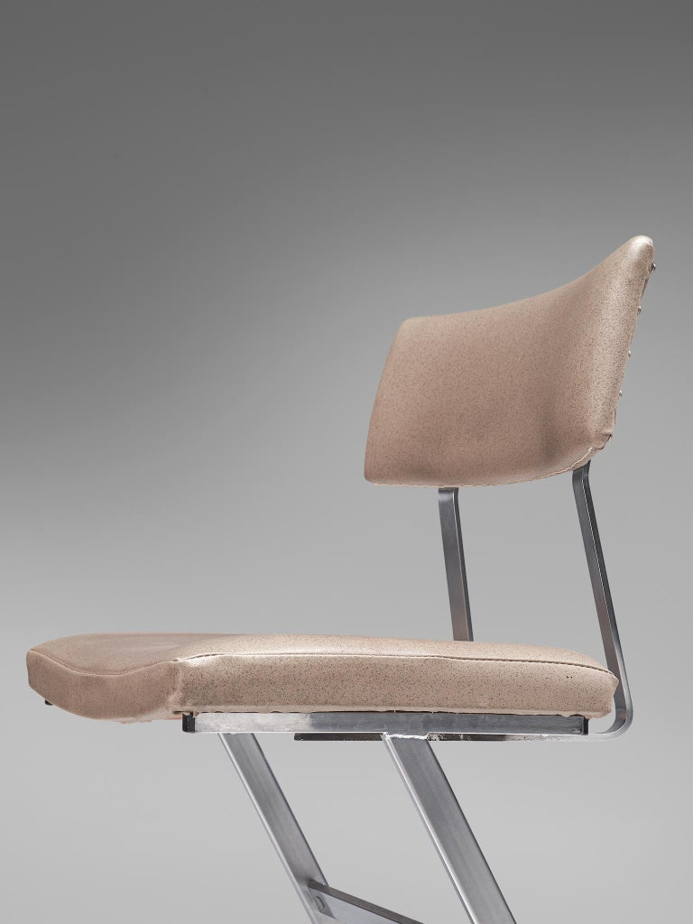 Set of Six 'Zig Zag' Steel and Taupe Leatherette Chairs For Sale 1
