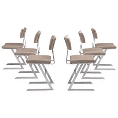 Set of Six 'Zig Zag' Steel and Taupe Leatherette Chairs