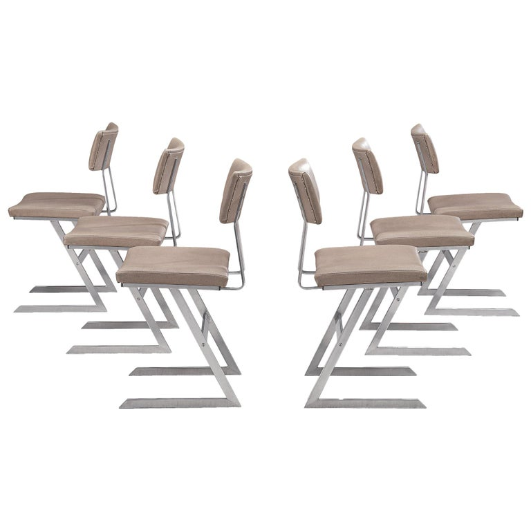 Set of Six 'Zig Zag' Steel and Taupe Leatherette Chairs For Sale