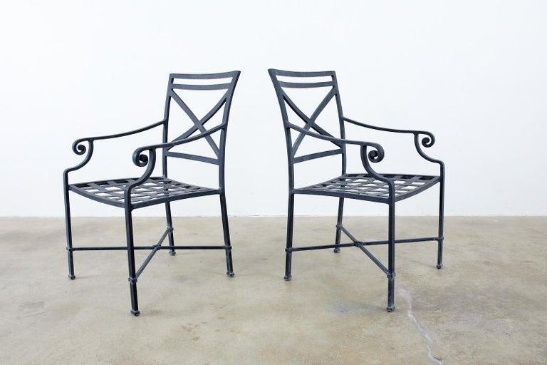American Set of Sixteen Brown Jordan Venetian Patio Dining Armchairs For Sale