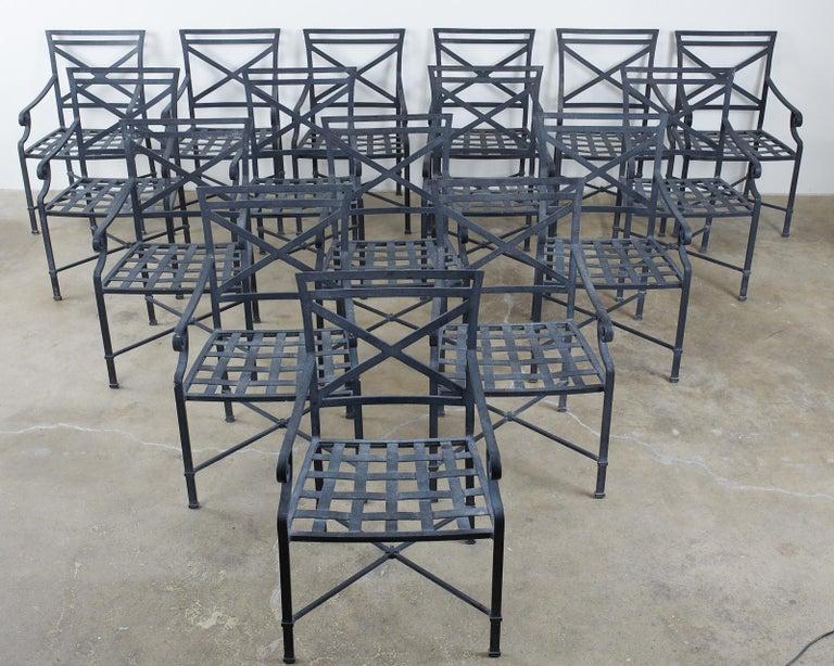 Powder-Coated Set of Sixteen Brown Jordan Venetian Patio Dining Armchairs For Sale