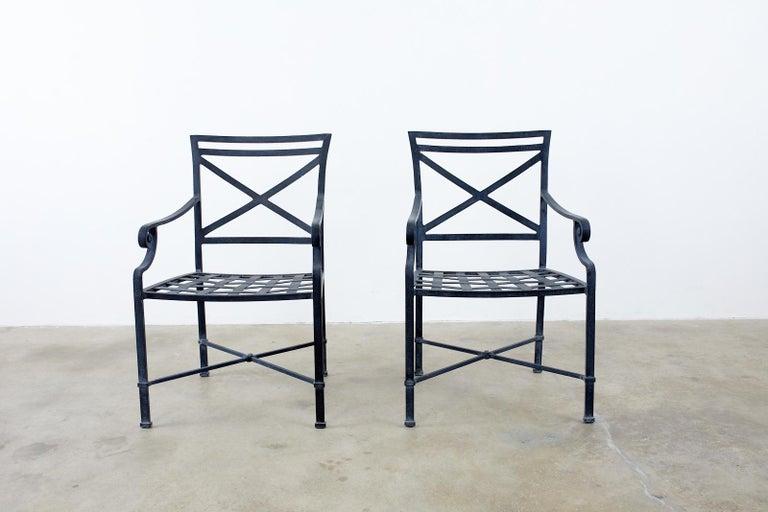 Contemporary Set of Sixteen Brown Jordan Venetian Patio Dining Armchairs For Sale