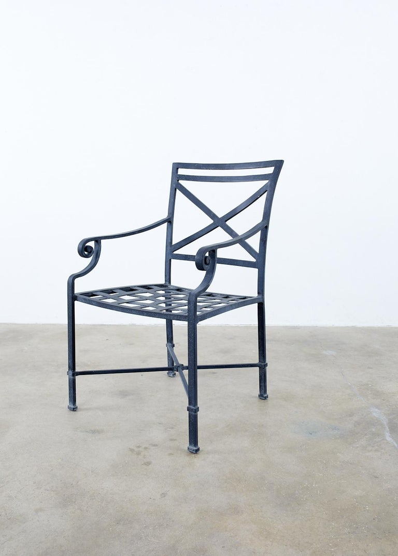 Aluminum Set of Sixteen Brown Jordan Venetian Patio Dining Armchairs For Sale