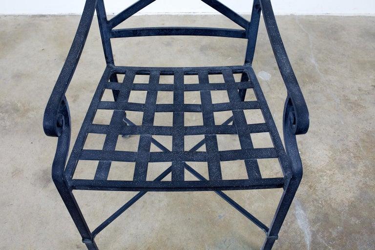 Set of Sixteen Brown Jordan Venetian Patio Dining Armchairs For Sale 1