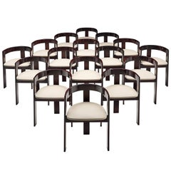Set of Sixteen Ebonized Dining Chairs