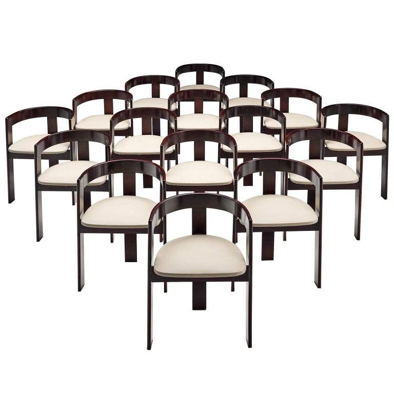 Set of Sixteen Ebonized Dining Chairs