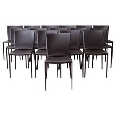 Set of Sixteen Italian Leather Wrapped Dining Chairs