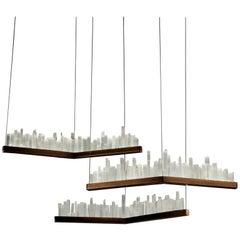 Set of Skyline, White Quartz Pendant Lamps