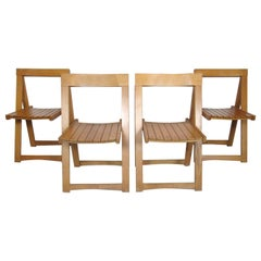 Set of Slat Folding Chairs