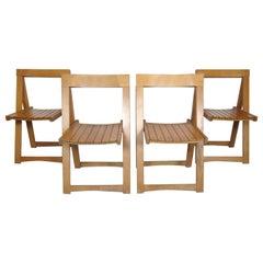 Set of Slat Folding Chairs