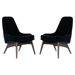 Set of Slipper Chairs by Adrian Pearsall in Navy Mohair, 1950s