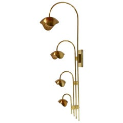 Set of Solid Brass Floral Wall Lamps Attributed Palle Suenson, Denmark, 1940s