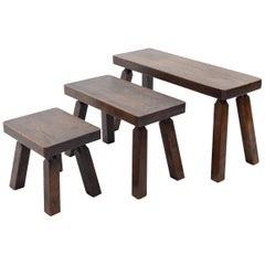 Set of Solid Oak Nesting Tables, 1970s